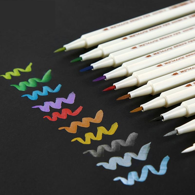 STA 10Colors/Set Metallic Art Marker Pen DIY Scrapbooking Crafts Soft Brush Pen Art Markers For Stationery School Supplies