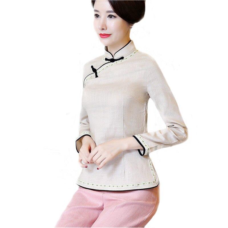 b48d5b4715d870f 2019 новый синий китайские Стиль дамы рубашка из хлопка и льна Для женщин  воротник-стойка