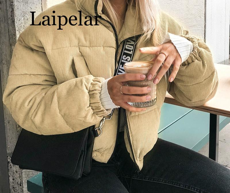 Laipelar Casual corduroy thick   parka   overcoat Winter warm fashion outerwear coats Women 2019 khaki streetwear jacket coat female