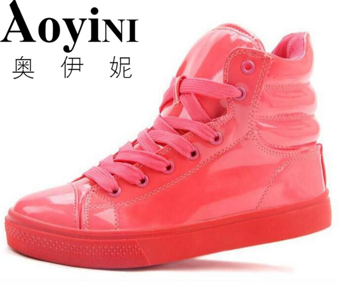 Women Shoes 2017 Hot Spring Patent Leather Women Casual Shoes Fashion Lace-Up Solid Flat Shoes High Top Breathable Women's Shoes