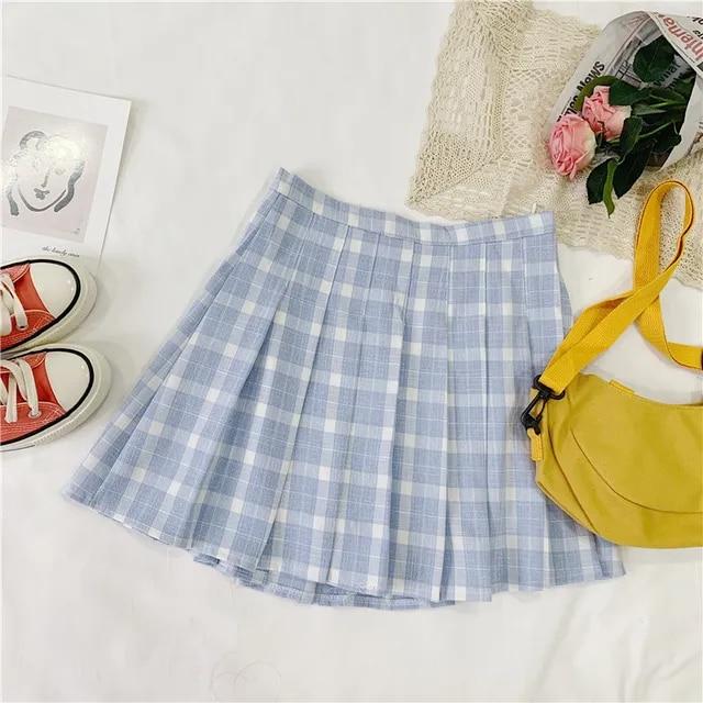 High Waist Cotton A-Line Women Skirt Chic Striped Lattice Printed Student Pleated Skirt Safety Pants Sweet Girls Mini Skirt