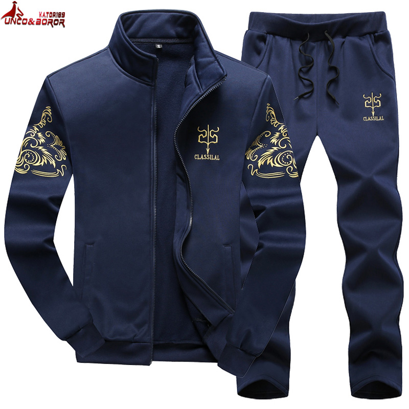 Plus Size M~8XL 9XL Men's Sportswear Sets Casual Tracksuit Male 2 Piece Sets Sweatshirt+Pants Outwear Joggers Sports Suit Men