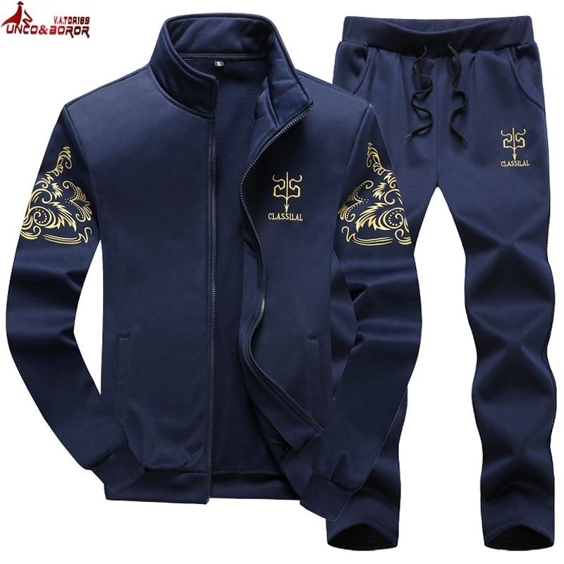Plus Size M~8XL 9XL Men's Sportswear Sets Casual Tracksuit Male 2 Piece Sets Sweatshirt+Pants Outwear Joggers Sports Suit Men