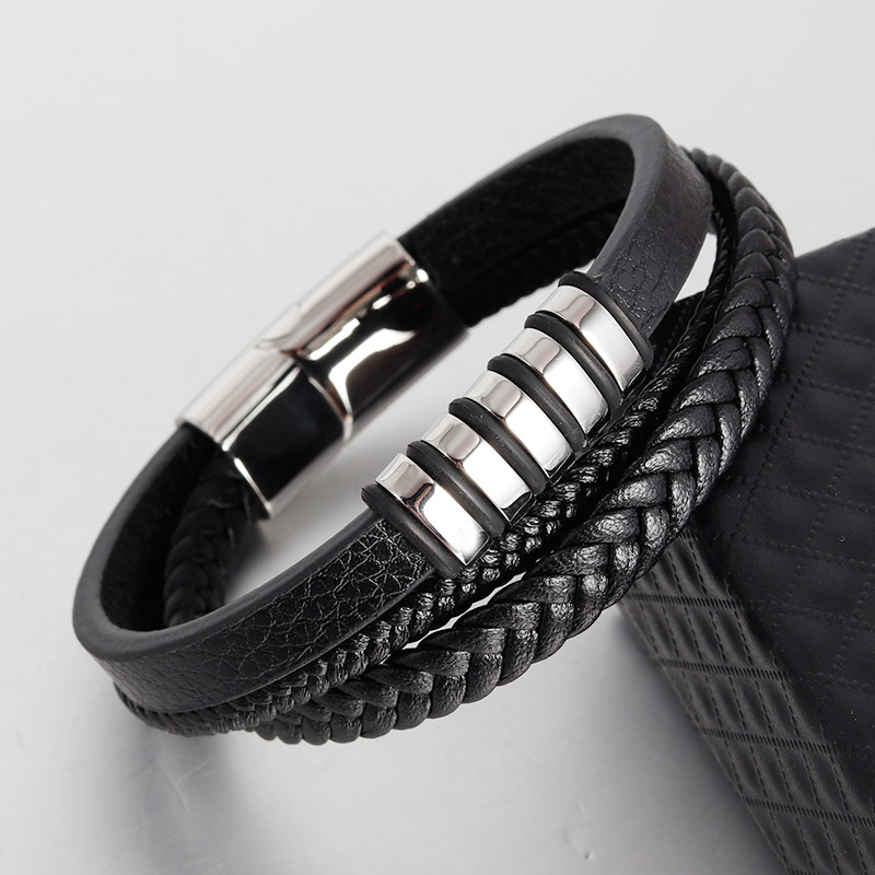 New Vintage Genuine Leather Bracelet Stainless Steel Magnetic Clasp Bangle for Men Jewelry Classic Braid Multilayer Rope fashion solid stainless steel braid leather bangle bracelet men jewelry