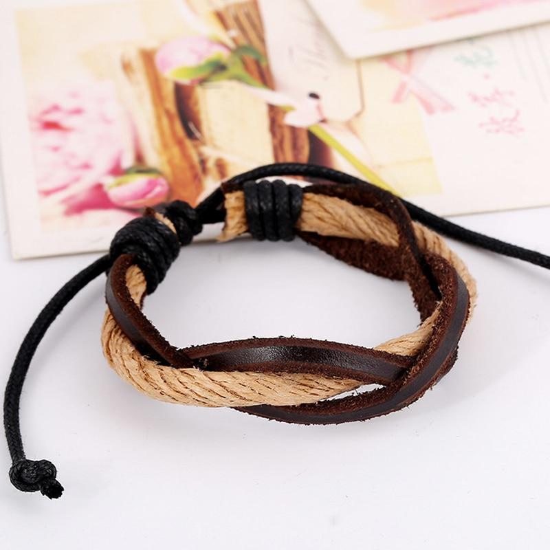 (5pcs/lot) Handmade Tribal Ethnic Genuine Leather Braided Elastic bracelet for Women Girls Gift Wrap Summer Style Jewelry