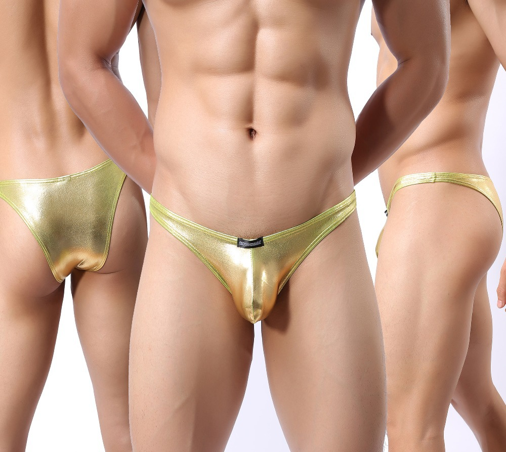 Aliexpress.com : Buy Men's gold & silver small briefs sexy leather ...