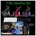 Solong Kit de Tatuaje 3 Pro Machine Gun Power Supply Apretón de Las Agujas Consejo ink Cup