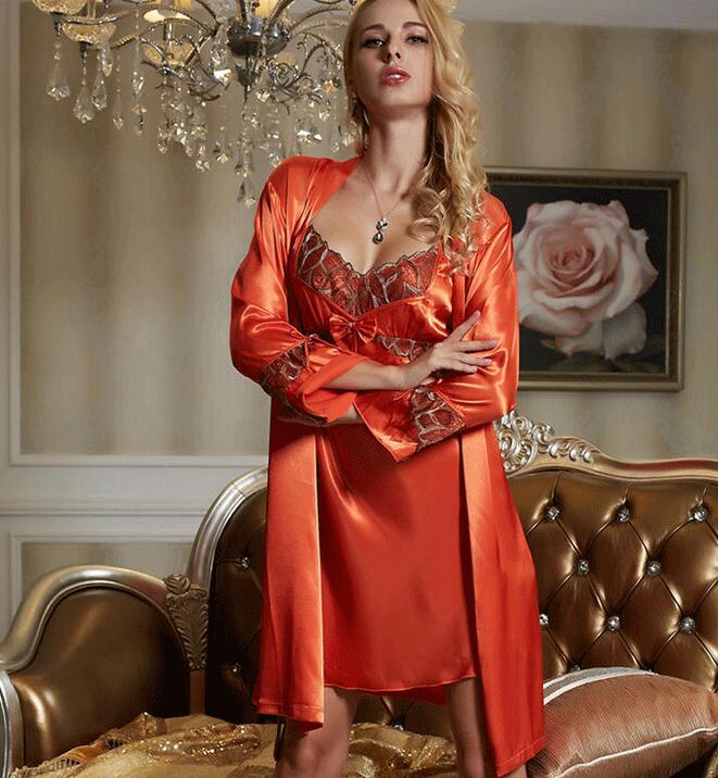 cc22f88a9963 Robe Gown Set Sexy Red Women Nightwear 2 pieces set Faux Silk Bathrobe Home  Dress Sleepwear -in Nightgowns   Sleepshirts from Underwear   Sleepwears on  ...