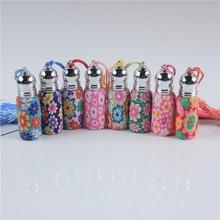 Botella Roll on de cristal para Perfume con bola de cristal y Metal, rodillo de arcilla polimérica, botella de aceite esencial, muchos patrones, 6ml, 10ml, lote de 5 unidades