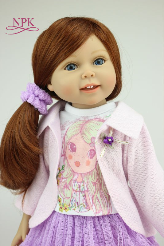 BJD DOLL 18 inch 45cm Full Vinyl American Girl Dolls Bebe Reborn Play House Toy Doll Baby for Kids Gift Juguetes Brinquedos realistic doll 18 inches cute doll handmade full vinyl american girl doll reborn baby kids gift for girl