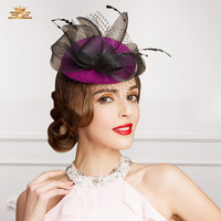 European Women Elegant Wool Hat Female Beret Vintage Solid Flower Cap Sinamay Party Fascinatir Wedding Church Hat B 7542