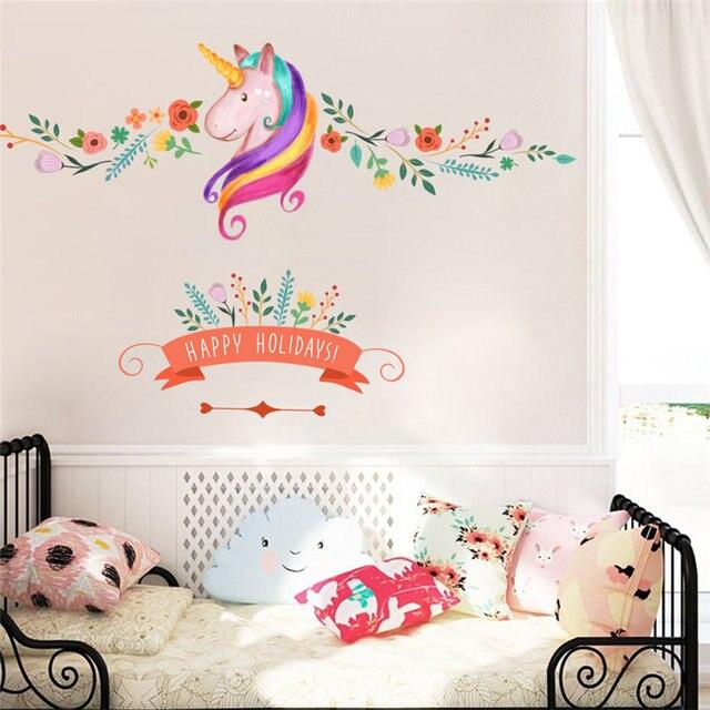 Unicorn Horse Flower Vine Wall Stickers Living Room