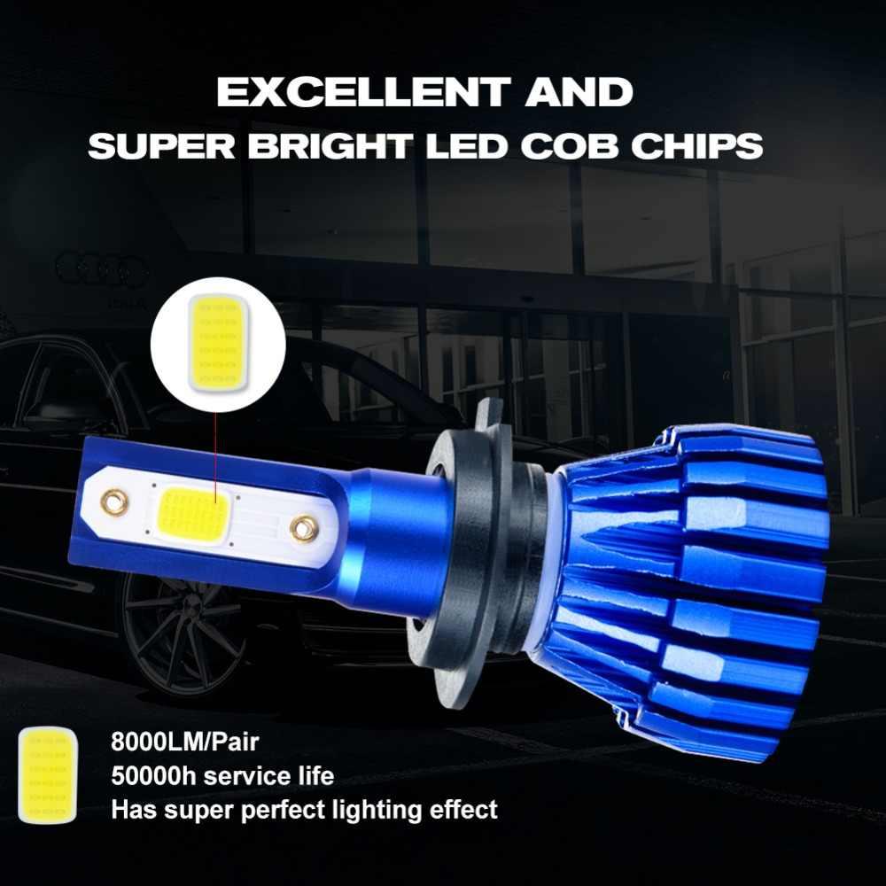 Aceersun 2Pcs 9005 HB3 9006 HB4 H11 H4 H7 Led H1 Auto Car Headlight 72W 8000LM 6500K Automobile Bulb COB CHIP 4300k H3 Fanless