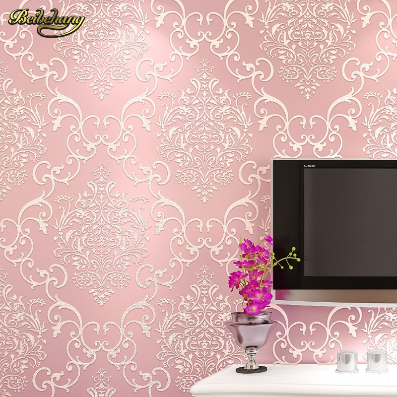 Beibehang 3d wallpaper embossed texture glitter baroque for Wall covering paper