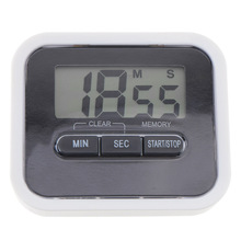 LCD Digital Magnetic Kitchen Countdown Timer Alarm with Stand White Kitchen Timer Practical Cooking Timer Alarm Clock