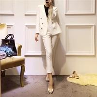 New 2017 Autumn Winter Fashion Women Cute Ruffles Double Breasted Blazer Long Pants Suit Two Piece