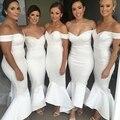 Barato Longo Sereia Vestidos Dama de honra 2017 da Luva do Tampão Sexy Backless Decote Cetim Stretch vestidos de festa Branco