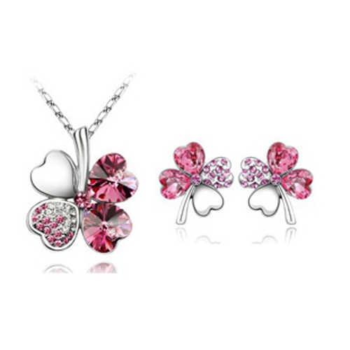 2014 Miễn Phí Vận Chuyển phụ nữ phụ kiện Áo Pha Lê bốn Lá Leaves Clover vòng cổ mặt dây chuyền stud earring jewelry sets