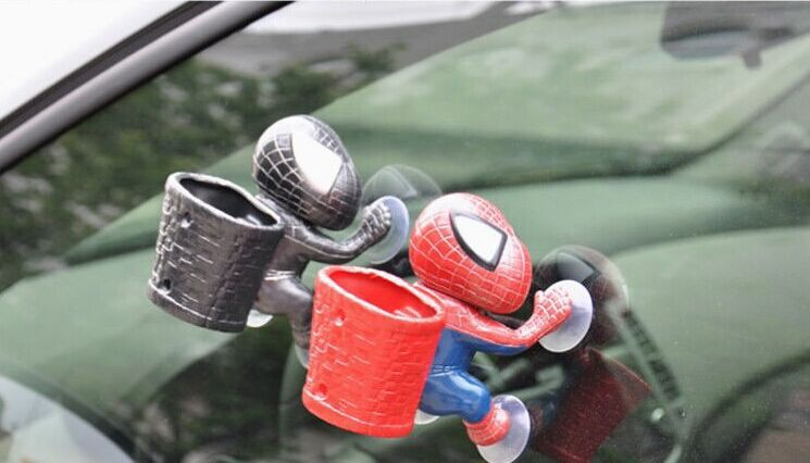 <font><b>2</b></font> PCS Panniers Spiderman Car Cartoon Toys Car Decoration <font><b>Spider</b></font> <font><b>Man</b></font> Suction Cup Doll With a Barrel Sucker Doll Cartoon <font><b>Glove</b></font> Box