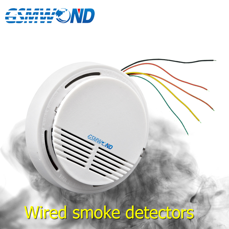 GSMWOND Wired Smoke Detector Smoke Sensor Alarm For Wired Home Burglar Wifi / GSM / PSTN / APP Alarm System.