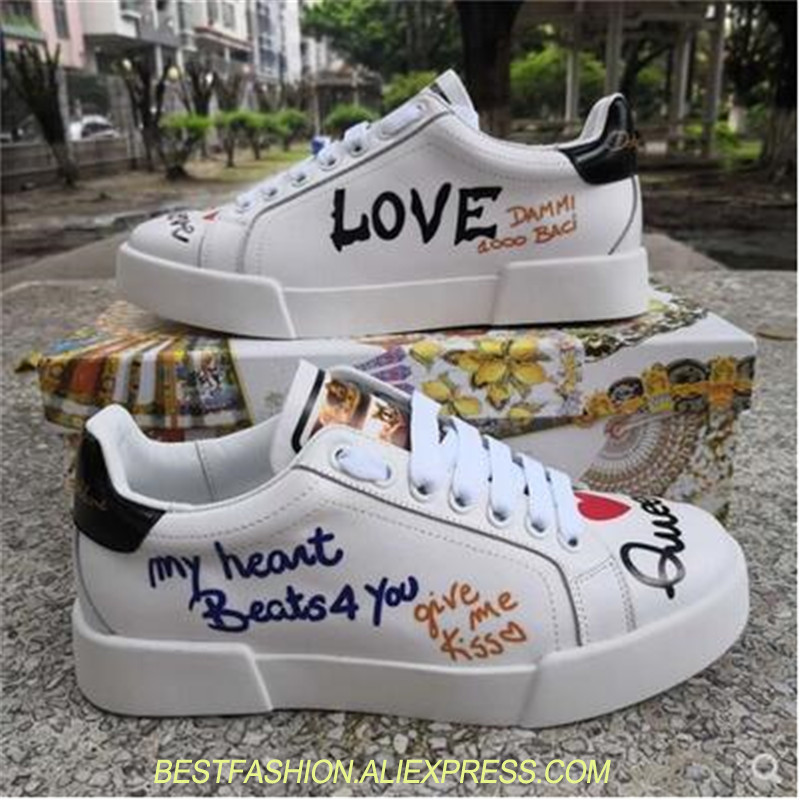 Real Leather Lace Up Trainers Graffiti Women Casual Shoes Mixed Colors Women Platform Shoes Thick Rubber Sole Woman Sneakers real fur winter shoes women mixed colors thick platforms shoes 2018 lace up ultra women sneakers mesh leather casual women shoes