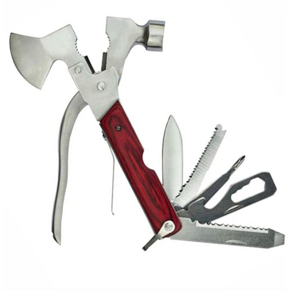 A Set Stainless Multi Function Folding Hammer Axe Pliers Knife Screwdriver Tools