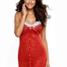 7ff2bd60cb8 Hot Christmas Women Sexy Mrs Santa Costume Red Erotic Strap Hollow Chemise  Mini Dress Short Baby