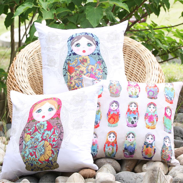 2017 New Arrival Porcelain Doll Microfiber Decorative Pillow Cover Throw Cushion Case