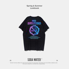 SODA WATER NO SMOKING Tee 2019 Summer 100% Cotton T-shirt Men and Women Slim Fit O-Neck Tshirts Short Sleeve Top Tee 9118S