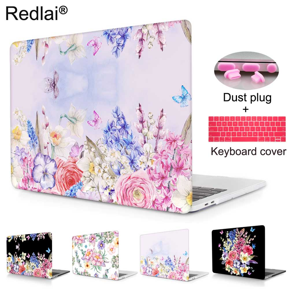 Redlai Case For Macbook New Pro 13 15 with Touch bar A1706 A1707 Floral Plastic Hard Cover Case For Macbook Air Retina 13 15