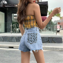 2019 Jeans Woman Cartoon Mickey Mouse Print Denim Shorts Embroidery Loose Straight Jean Summer High Waist Ripped For Women