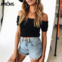 Aproms Off Shoulder Sexy Knitted Tank Tops Cropped Women Short Sleeve Crop Top Female Winter 2017