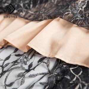 Image 3 - Mulheres rendas falso duas peças bordados zíperes vestidos oco para fora retalhos elegância cintura alta até vestido da senhora do escritório d8d720i