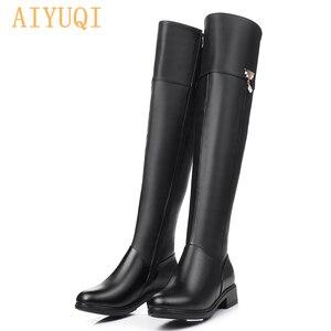 Image 5 - 2020 zimowe oryginalne skórzane buty do kolan damskie ciepłe buty do stovepipe plus duże rozmiary 35 43 na buty do kolan