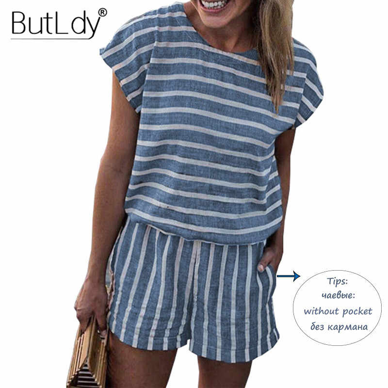 3988c09ee54 Striped Loose Playsuits Bodysuit Rompers Women Summer 2019 Casual Beach  Jumpsuit Shorts Short Sleeve Elegant Overalls