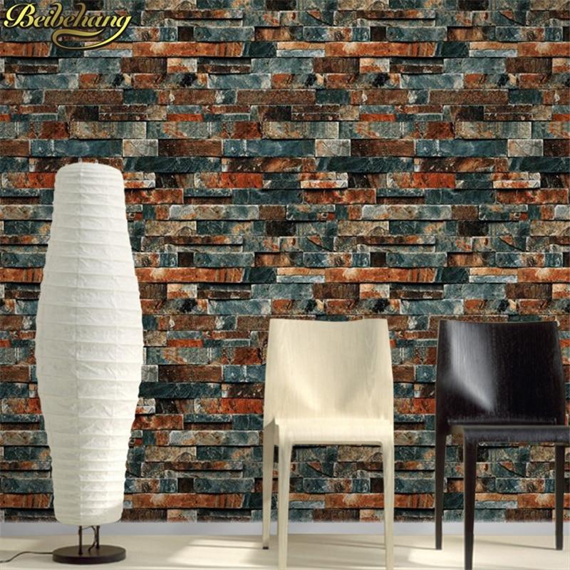 beibehang 3D wallpaper stone brick design background wall PVC wallpaper waterproof papel de parede tapete rolls