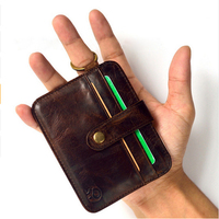 100 Genuine Leather Small Mini Ultra Thin Wallets Men Compact Wallet Handmade Wallet Cowhide Card Holder