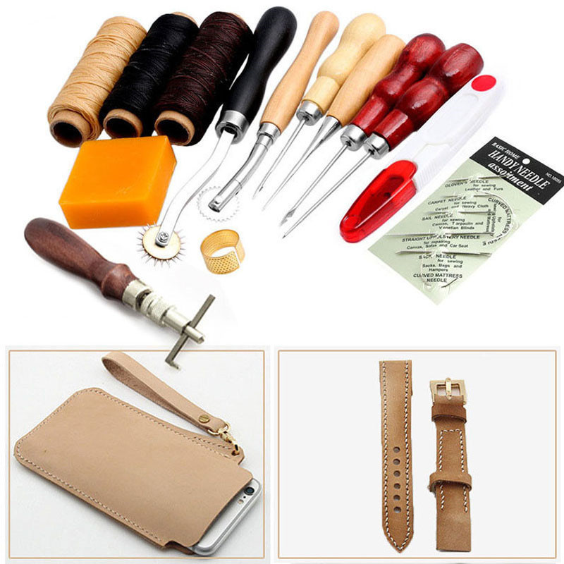 High Quality 13Pcs Leather Craft Hand Stitching Sewing Tool Thread Awl Waxed Thimble Ki
