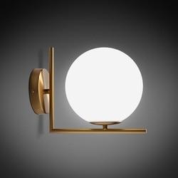 Nowoczesna lampa ścienna szklana kinkiet oprawa lampa kula Luminaria Abajur do łazienki oświetlenie do sypialni E27 podstawa oświetlenie domu Lamparas|Lampy ścienne|   -