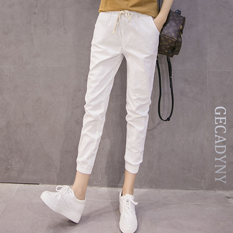 Fashion Cotton and Linen Pants Female Summer Loose Large Size Women Harem Pants Students/Girls Casual Candy Color Pants Capris