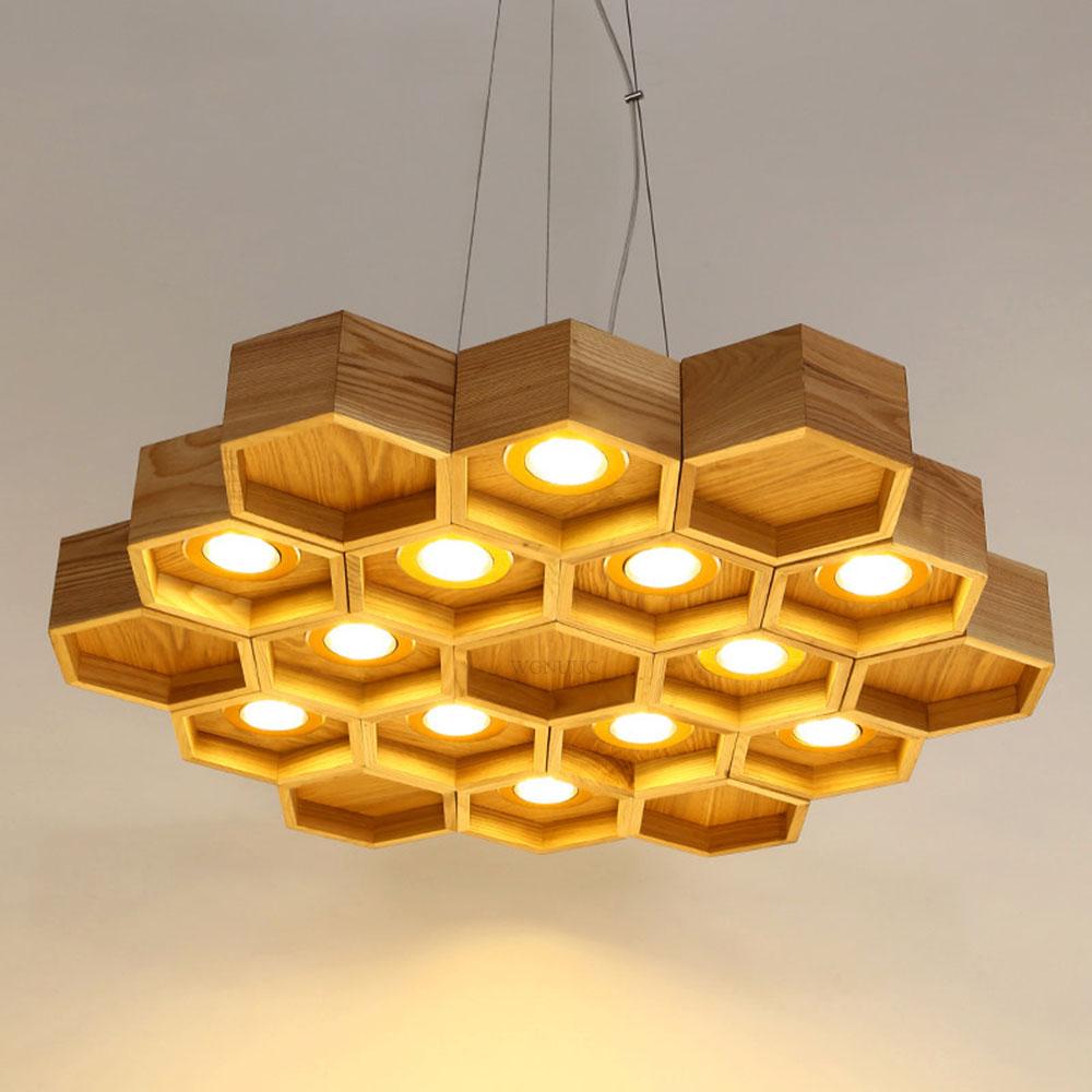 Nouveau moderne honeycomb forme led pendentif lumières lampe bois luminaires led suspendus lumières pour cuisine salle