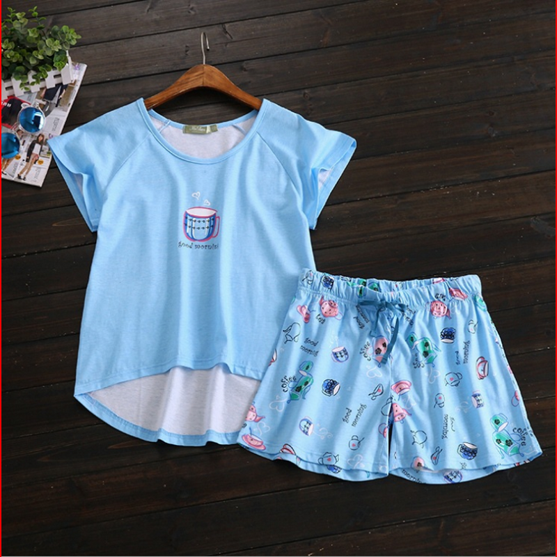 Summer Homewear Female  Cotton Pajama Sets Women Short Sleeve Round Collar T Shirt + Shorts Ladies Lovely Sleeping Suit