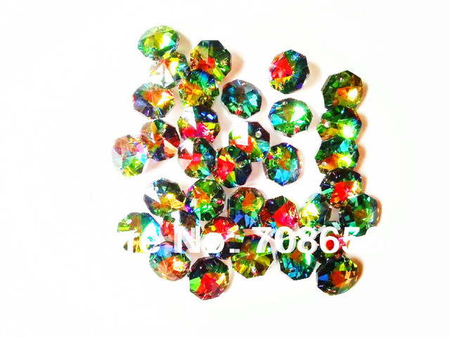 Hot 1000pcs 14mm Multicoloured Octagon Crystal Glass Beads Chandelier Chain Parts In Two Holes