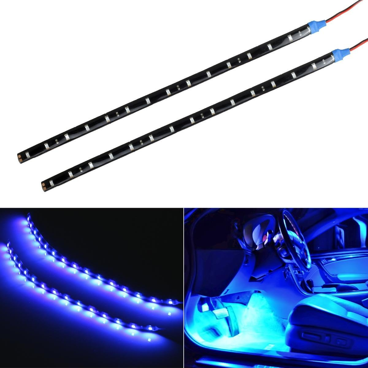 2pcs Car Auto Motorcycle Strip Lights 30CM Blue DC 12V 15 LED SMD Waterproof Flexible Light Flexible Car LED Light Bulb