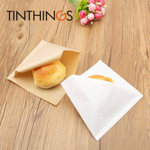 100 pcs 15x15cm Oil proof Kraft paper bag sandwich Donuts bags for Bakery bread food Trigonometric white Brown Customized