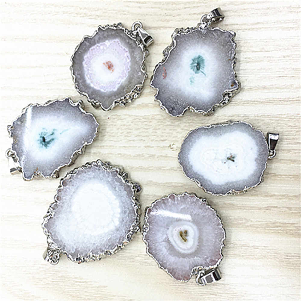 Hot! Natural Brazilian Electroplated Edged Slice Open Agates Geode Drusy Druzys Pendants For Necklace women jewelry Making 1PCS