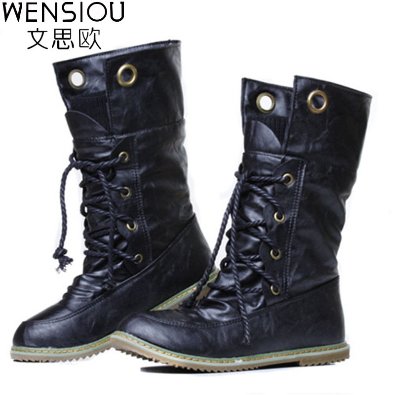 Winter Women Boots Basic Fashion Round Toe Comfortable Flat Shoes Female Footwear Mid-Calf Warm Boots Popular Wholesale DGT674 eiswelt women mid calf boots winter snow boots warm round toe flat shoes female fashion lace up boots plus size zqs182 page 8