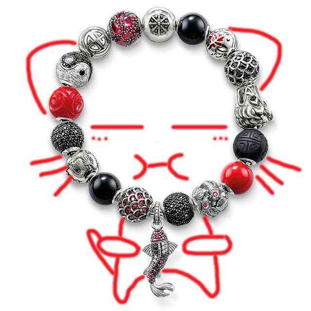 Thomas Style Karma Cut Beads Chain Bracelet with Silver Fish Charms TMS Fashion DIY Fine Jewelry, TS Charm Club Jewely for Women