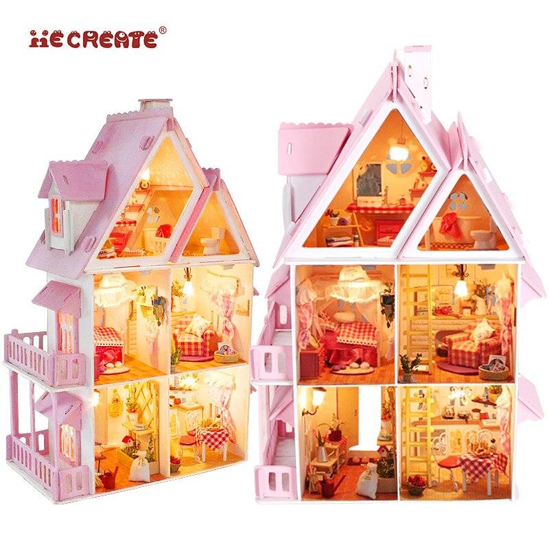 Fille meubles bricolage Miniature maison de poupée 3D en bois poupées maisons Miniature maison de poupée jouets pour enfants Kit de meubles