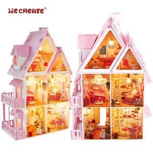 Menina móveis diy casa de boneca em miniatura 3d bonecas de madeira casas de bonecas em miniatura brinquedos para crianças kit móveis